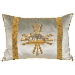 Blue Velvet Pillow with Antique Gold and Silver Applique of the Lamb of God