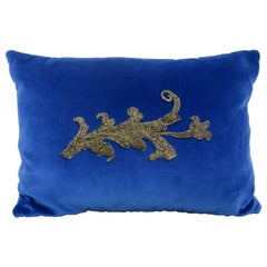 Blue Velvet Pillow with Metallic Applique by Melissa Levinson