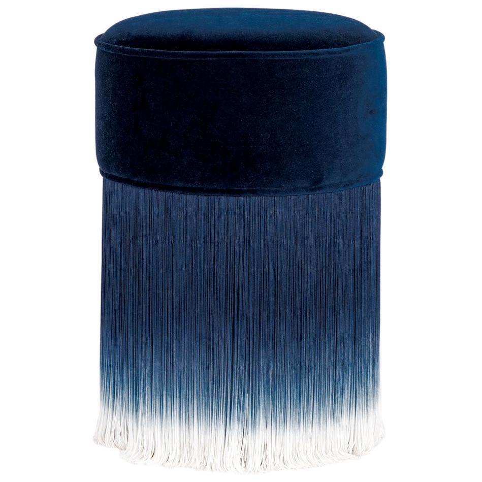 Blue Velvet Pouf with Fringe, Moooi