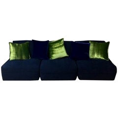 Blue Velvet Sectional Italian Sofa, Three Chair Pieces, 1970s