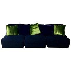 Blue Velvet Sectional Italian Sofa, Three Chair Pieces, 1970s