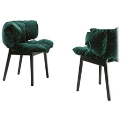 Blue Velvet Side Chair in Green by Fernando & Humberto Campana