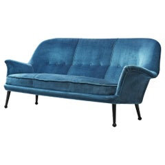 Blue Velvet Sofa by Arne Norell, 1950s