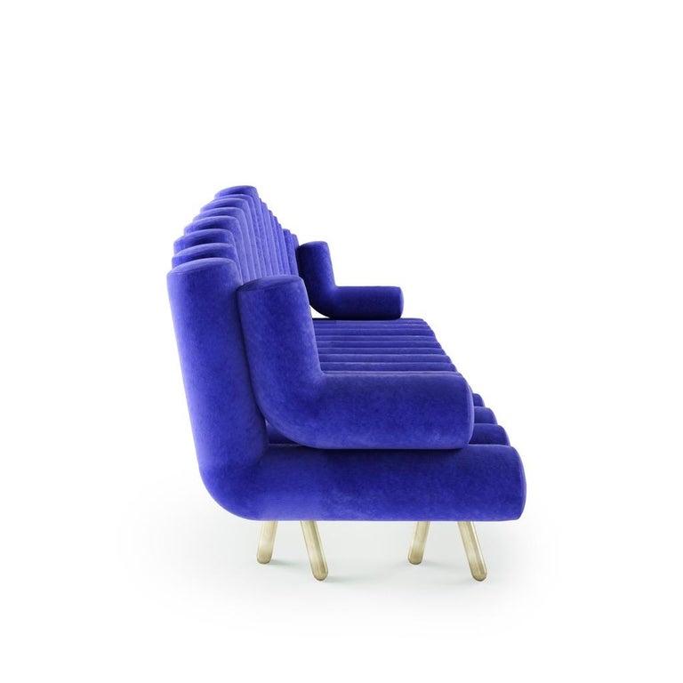 Italian Blue Velvet Sofa with Brass Legs For Sale