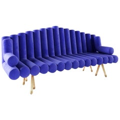 Blue Velvet Sofa with Brass Legs