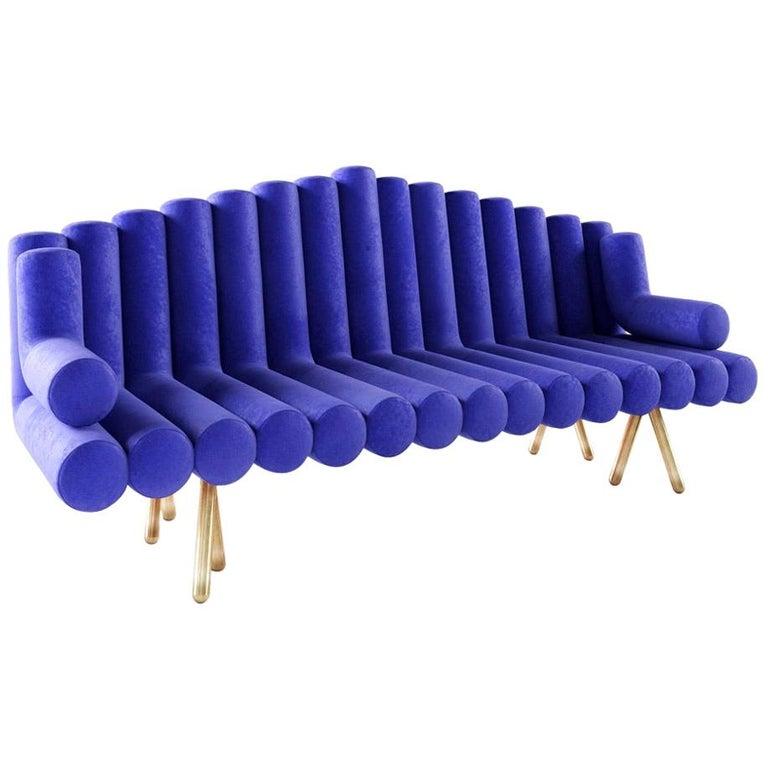 Blue Velvet Sofa with Brass Legs For Sale