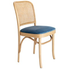 Blue Velvet Thonet Wood Rattan Chair, 1960s