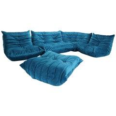 Blue Velvet Togo Sofa By Michel Ducaroy For Ligne Roset, Set of Five, 1973