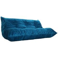 Blue Velvet Togo Three-Seat Sofa by Michel Ducaroy for Ligne Roset, 1973