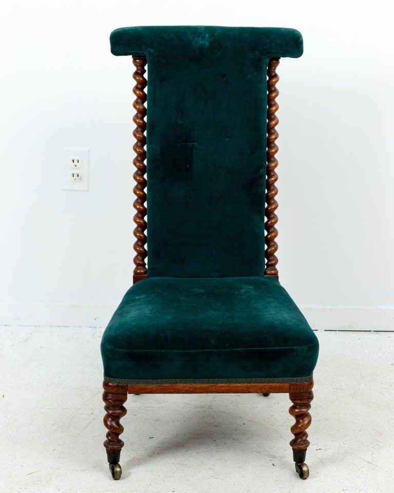 Blue Velvet Upholstered Slipper Chair For Sale 6