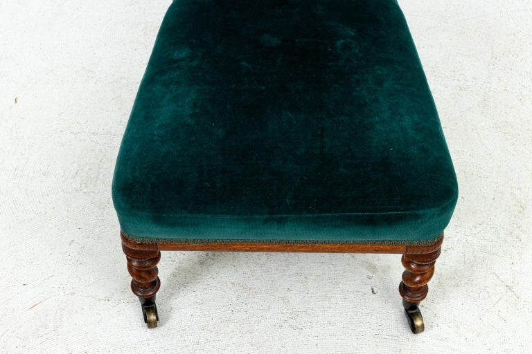 Blue Velvet Upholstered Slipper Chair In Good Condition For Sale In Stamford, CT