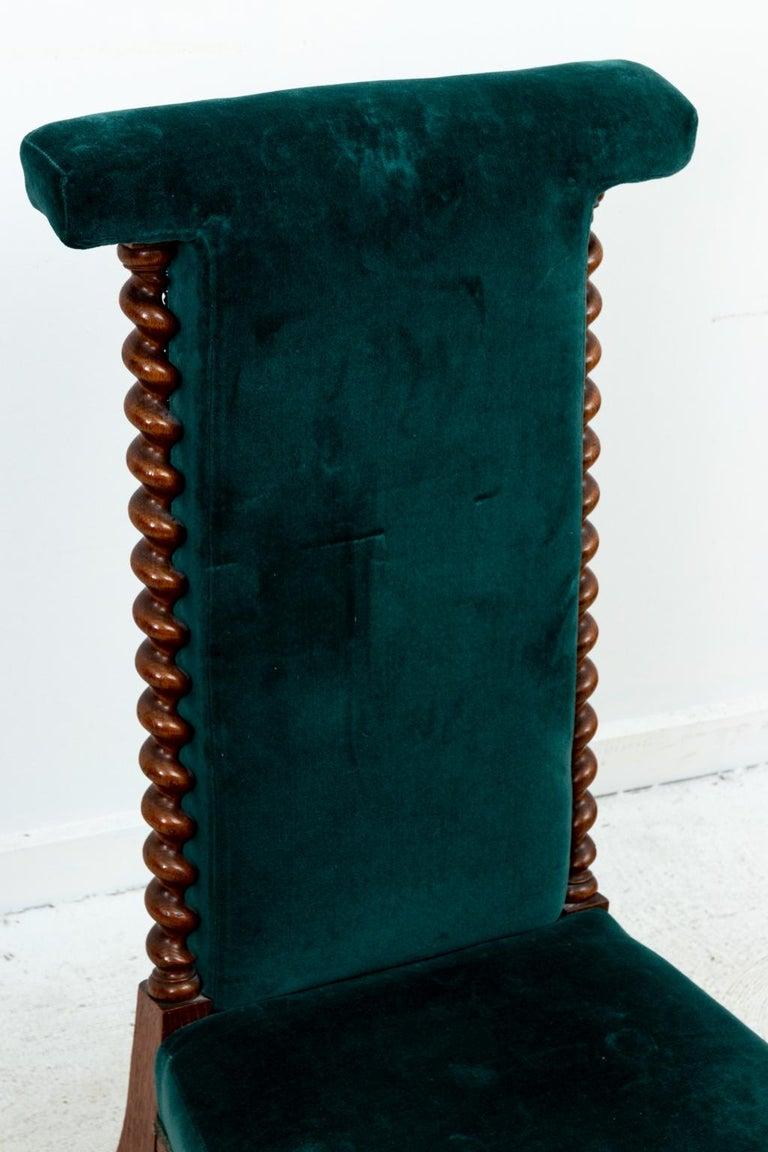 20th Century Blue Velvet Upholstered Slipper Chair For Sale