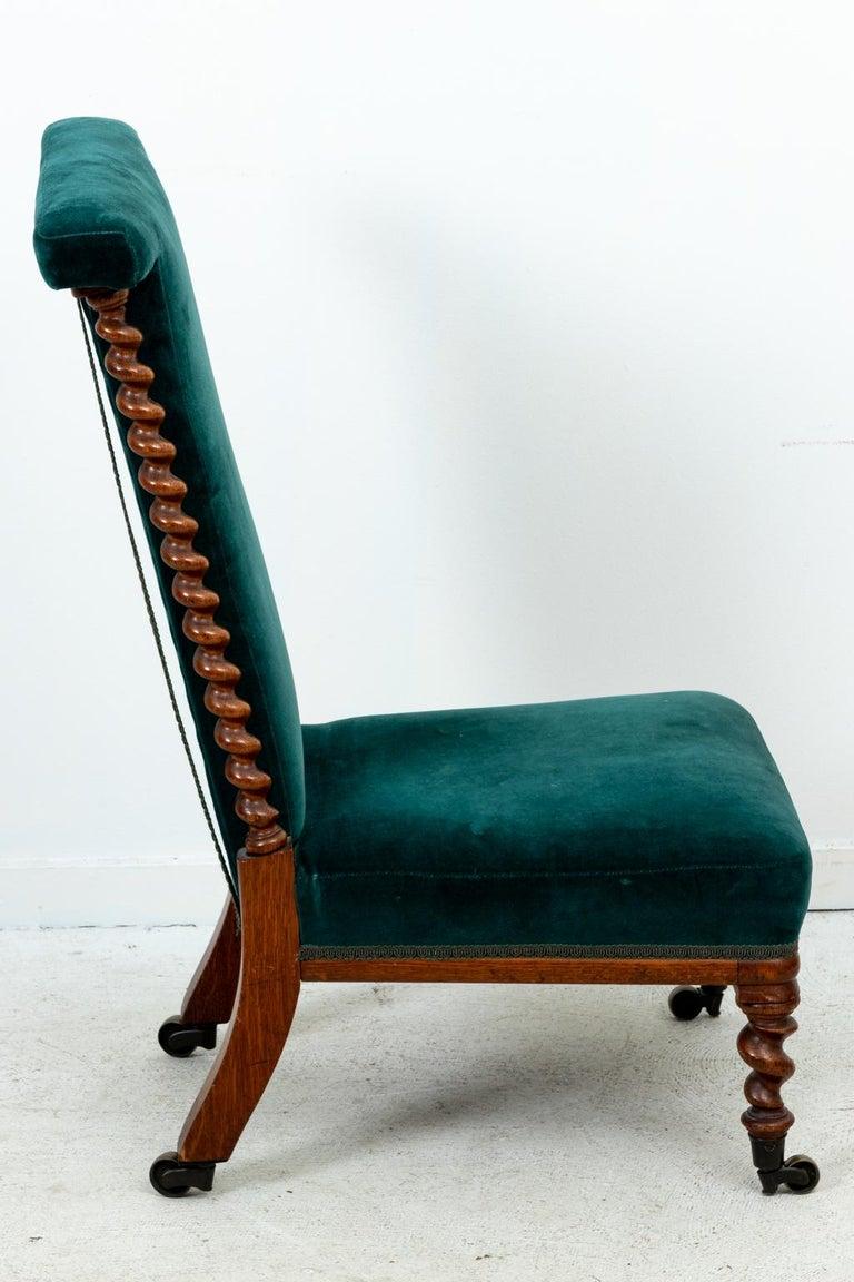 Blue Velvet Upholstered Slipper Chair For Sale 2