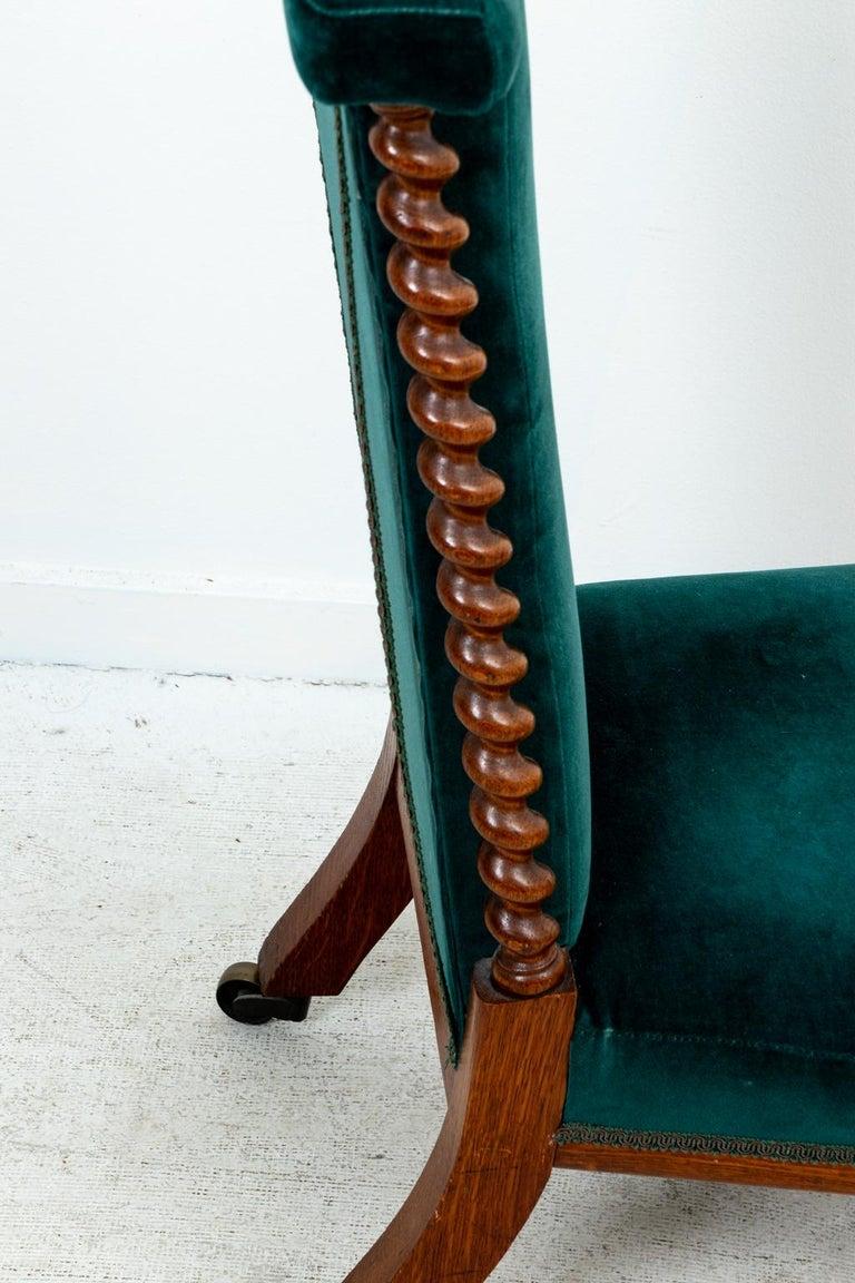 Blue Velvet Upholstered Slipper Chair For Sale 3