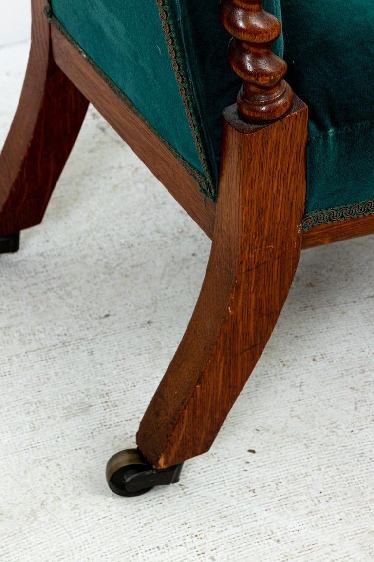 Blue Velvet Upholstered Slipper Chair For Sale 4