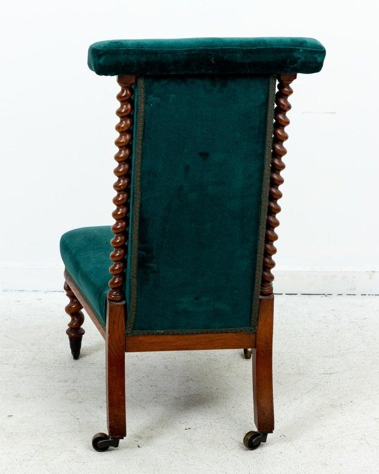Blue Velvet Upholstered Slipper Chair For Sale 5