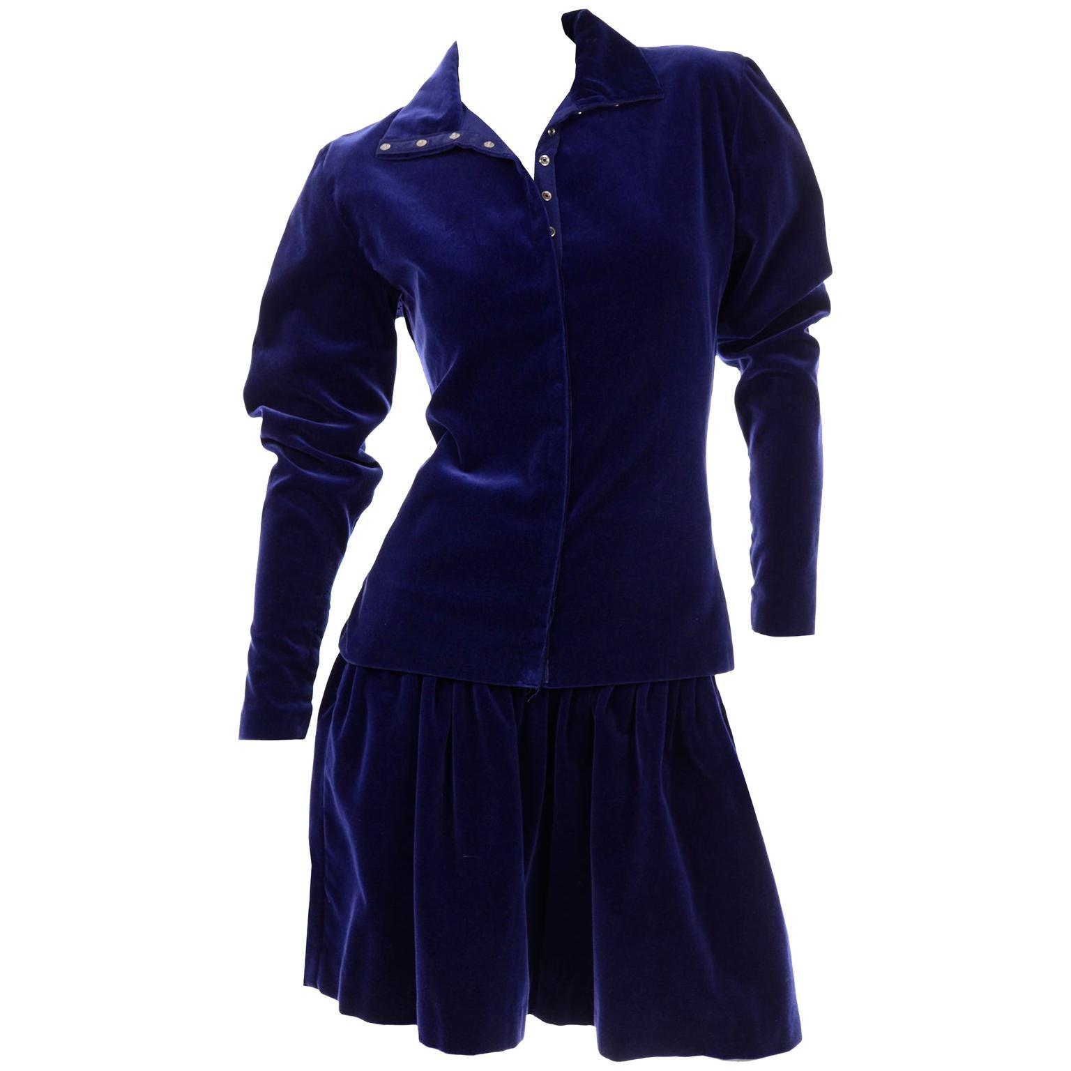 Blue Velvet Vintage Norma Kamali Sweatshirt Style Evening Skirt & Top w Snaps