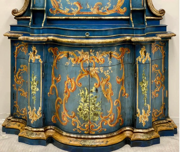 Blue Venetian and Silver Gilt Cabinet, circa 1950 For Sale 2