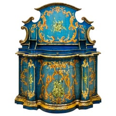 Blue Venetian and Silver Gilt Cabinet, circa 1950