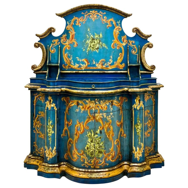 Blue Venetian and Silver Gilt Cabinet, circa 1950 For Sale