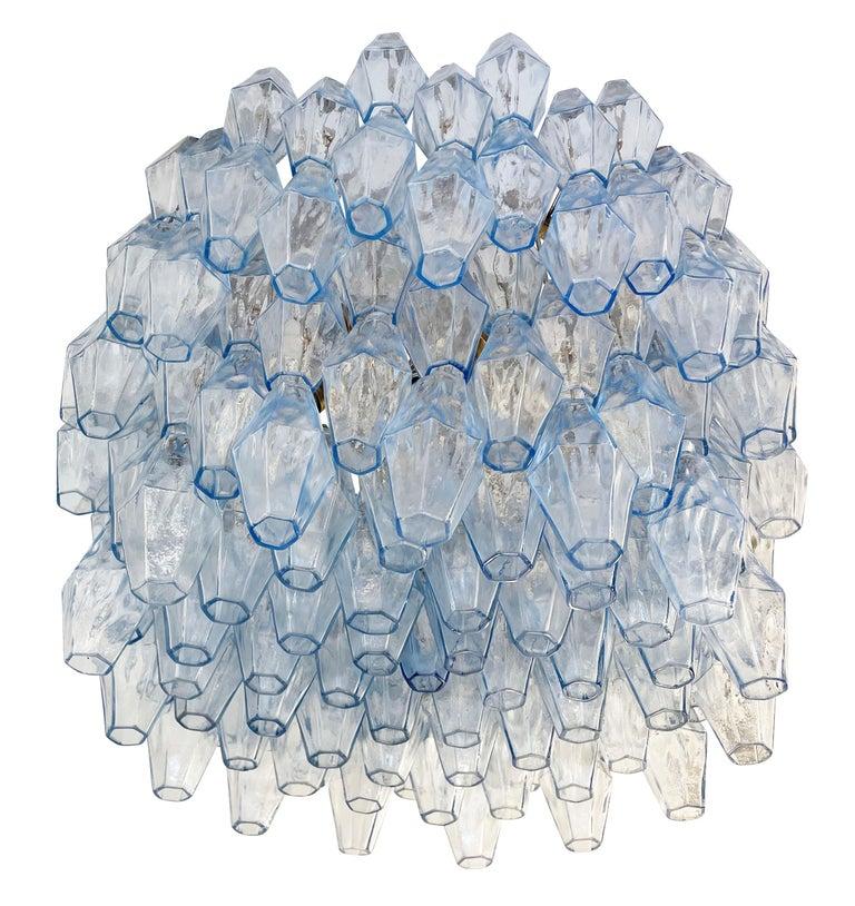 Mid-Century Modern Blue Venini Poliedri Murano Glass Chandelier For Sale