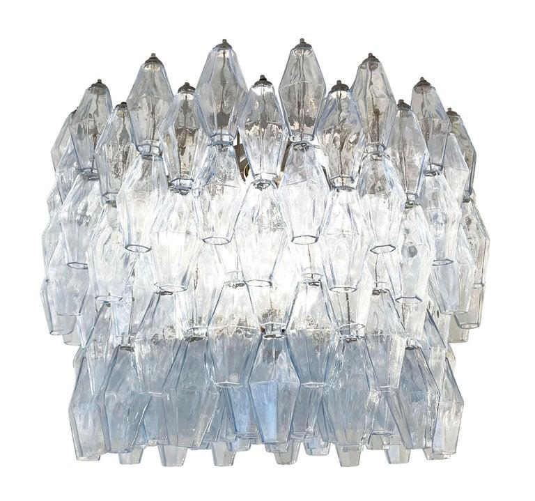 Italian Blue Venini Poliedri Murano Glass Chandelier For Sale
