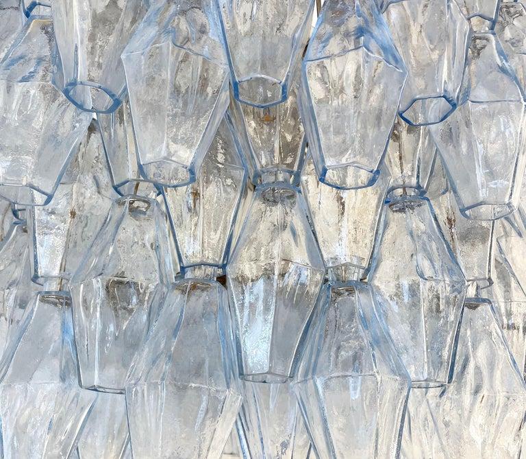 Blue Venini Poliedri Murano Glass Chandelier In Good Condition For Sale In New York, NY