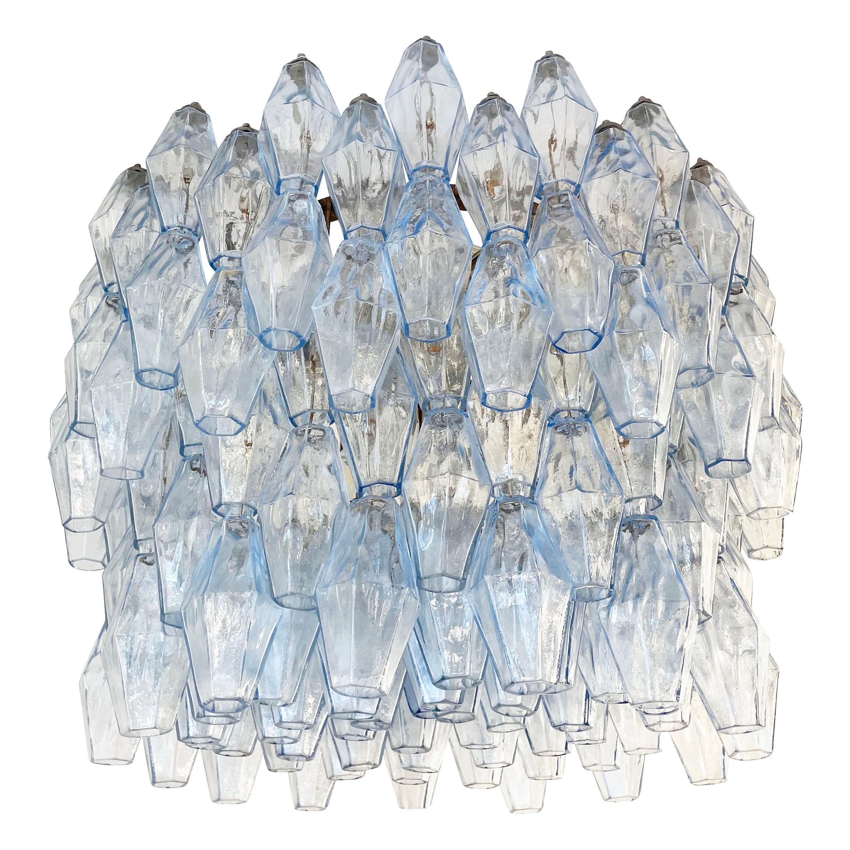 Blue Venini Poliedri Murano Glass Chandelier