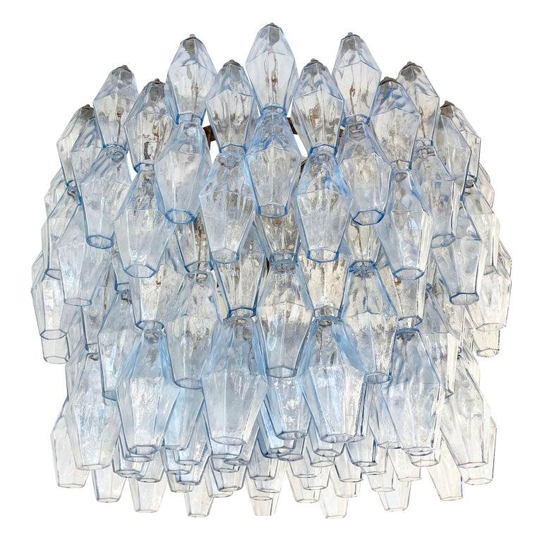 Blue Venini Poliedri Murano Glass Chandelier For Sale