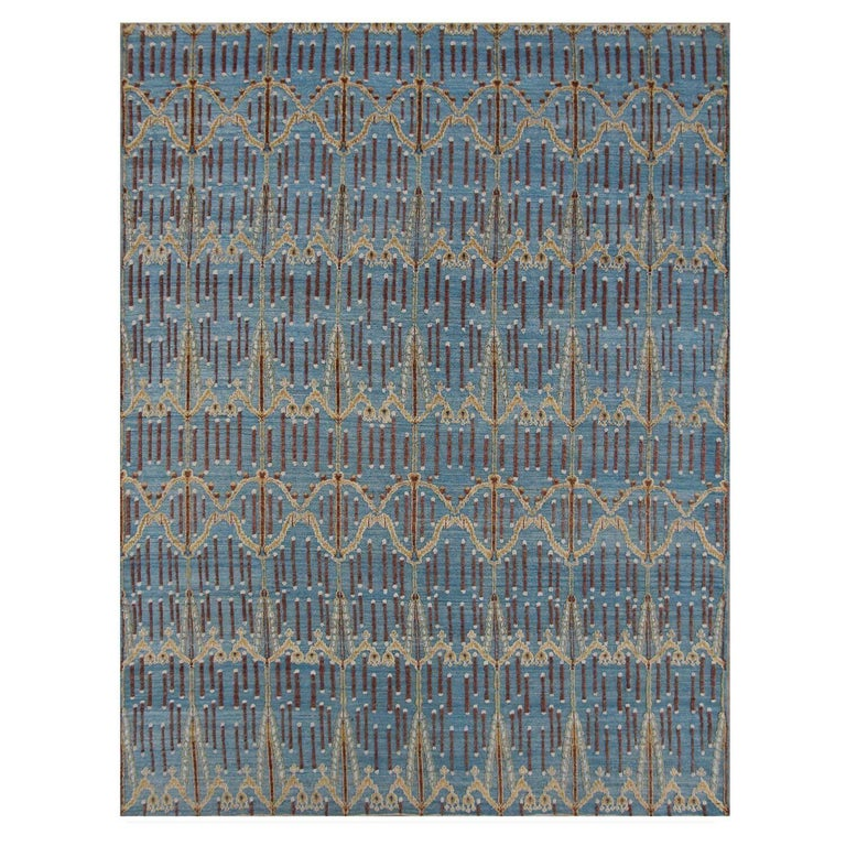 Blue Victoria Hand-Knotted Wool Rug For Sale