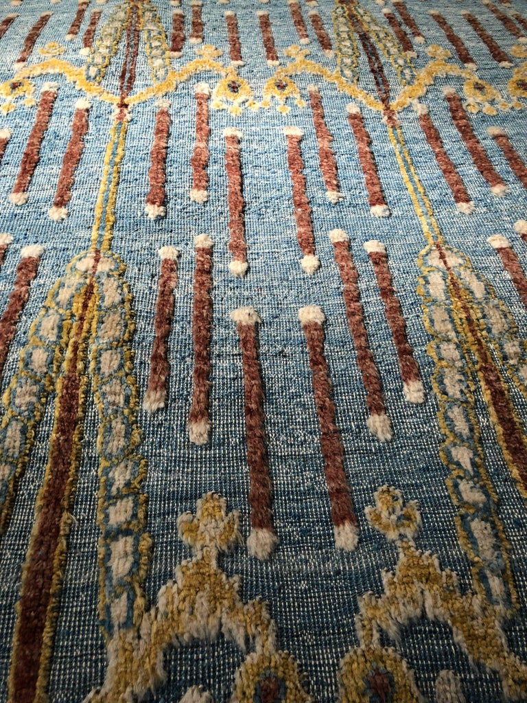 The Blue Victoria is another color way of a favorite rug in the collection. Shades of rich indigo blues paired with deep chocolate browns and warm golds bring this rug to a life all its own. Casual in feel but luxurious in texture, this rug has a