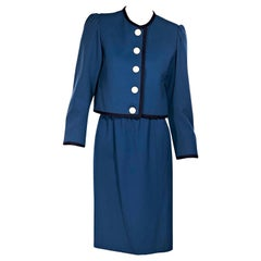 Saint Laurent Rive Gauche Blue Wool Skirt Suit Set