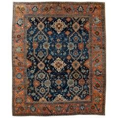 Blue Vintage Heriz Handmade Wool Rug