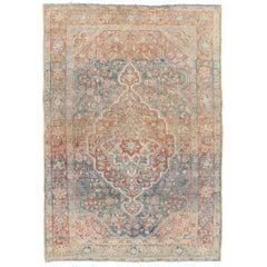 Blue Vintage Heriz Room Size Wool Rug
