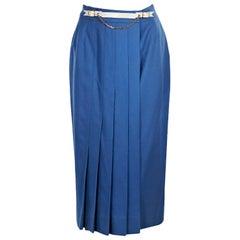 Blue Vintage Hermes Pleated Wool Skirt