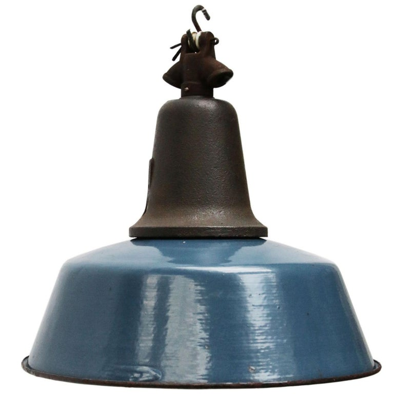 Vintage Industrial Enamel Pendant Light: Blue Vintage Industrial Enamel Cast Iron Pendant Light For