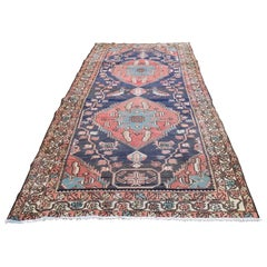 Blue Vintage North West Persian Bohemian Wide Runner Pure Wool Hand Knotted Orie