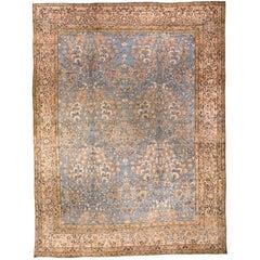 Blue Vintage Persian Kirman Carpet