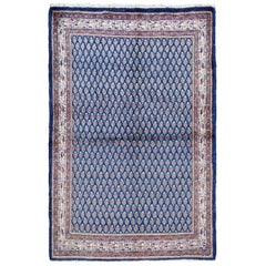 Blue Vintage Persian Seraband Pure Wool Hand Knotted Oriental Rug