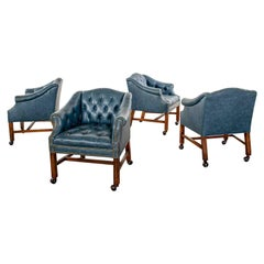 Blue Vinyl Faux Leather Chinese Chippendale Tub Style Rolling Game Chairs Set 4