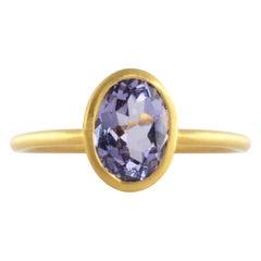 Ico & the Bird Gray Blue Spinel Ring 22 Karat Gold