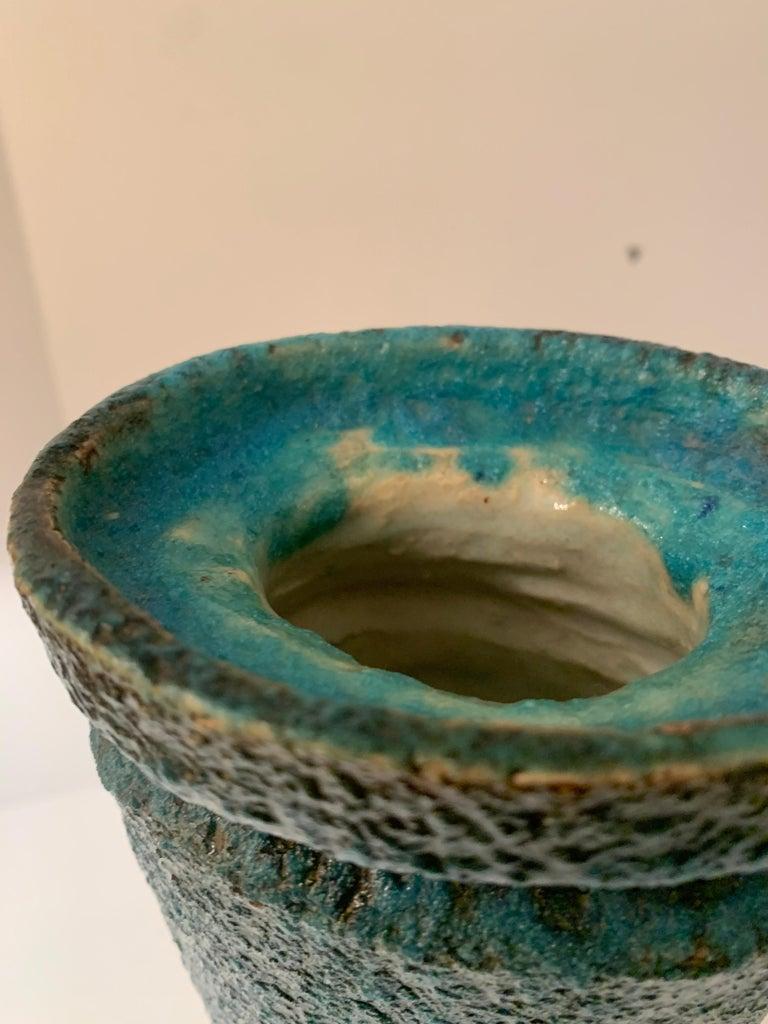 Blue Volcanic Glazed Vase For Sale 3