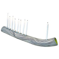 Blue Wave Hand-Built Ceramic Menorah by Re/Press Editions - Large
