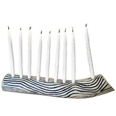 Blue Wave Hand-Built Ceramic Menorah by Re/Press Editions, Standard Size