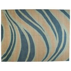 Blue Wave Wool Area Rug