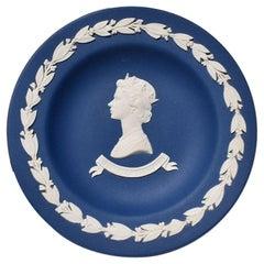 Blue Wedgwood Jasperware Queen Elizabeth II Silver Jubilee Dish England
