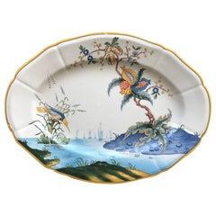 Blue, White and Yellow Bird Platter