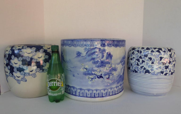 Blue & White Barrel Shaped Japanese Ceramic Hibachi Plum Blooms and Pine Trees For Sale 4