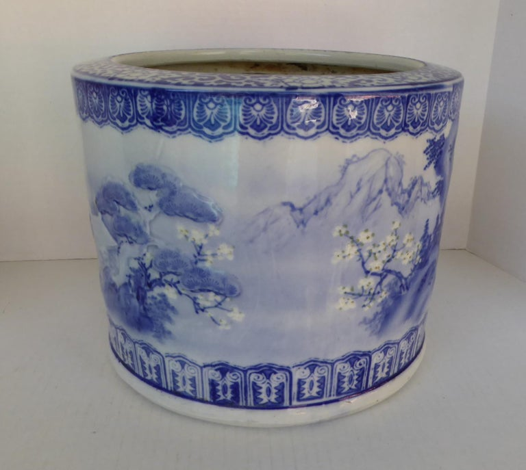 Modern Blue & White Barrel Shaped Japanese Ceramic Hibachi Plum Blooms and Pine Trees For Sale