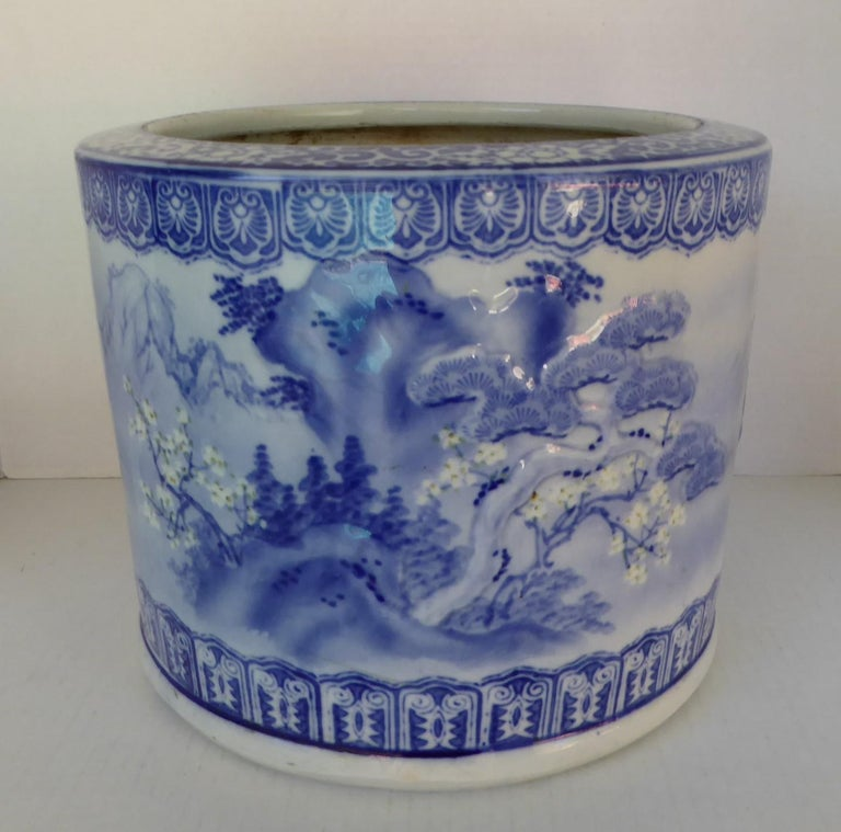 Glazed Blue & White Barrel Shaped Japanese Ceramic Hibachi Plum Blooms and Pine Trees For Sale